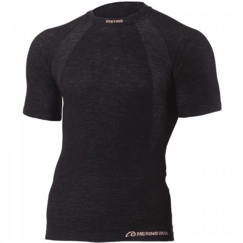 Lasting WABEL 9090 černé vlněné bezešvé triko